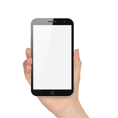 using smart phone: Hand holding big smart phone on white background