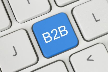 b2b: Azul B2B negocio a negocio bot�n en el teclado de cerca