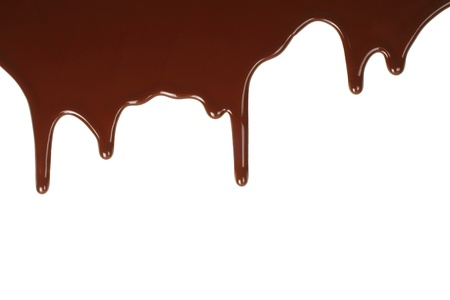 syrupy: Melting chocolate dripping on white background