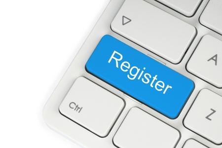 voter registration: Blue register button on keyboard close-up Stock Photo