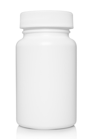 vitamins pills: White medical container on white background