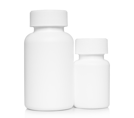 White medical containers on white background  photo