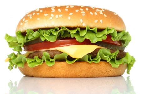 Big hamburger on white background   Imagens