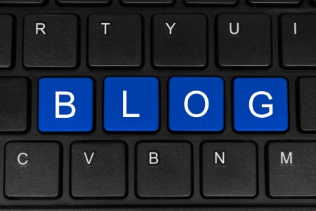 The word blog made of four blue buttons of a black keyboard close-up Stock Photo - 20720295