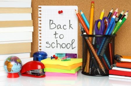 School stationery on white background   Stok Fotoğraf