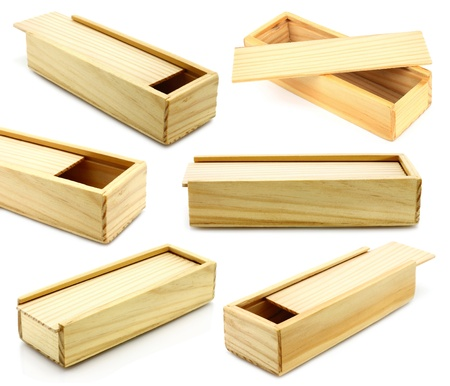 Wooden boxes on a white background   photo