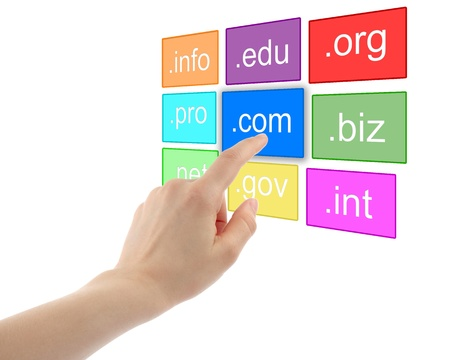 Hand pushing virtual domain name on white background, internet concept  Stock Photo