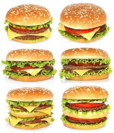 hamburger bun: Big hamburgers on white background