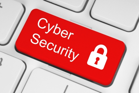Cyber security concept on red button of white keyboard close-up Stock Photo - 21913880