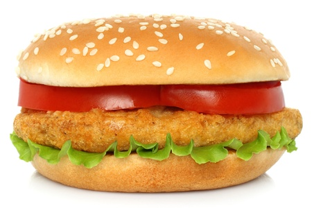 cutlets: Big chicken hamburger on white backgroung
