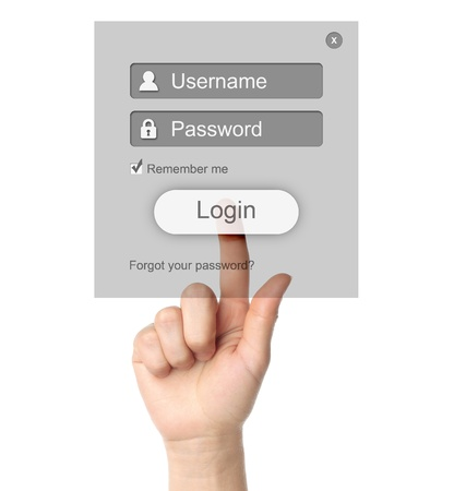 Hand pushing grey login box form ui element on white background  photo