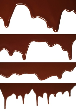 Melted chocolate dripping set on white background