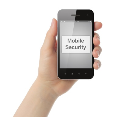 Hand holds smart phone with mobile security button on its screen  on white background  Stock Photo - 22148560