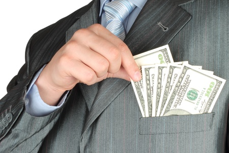 two dollar bill: Businessman with money on white background  Stock Photo