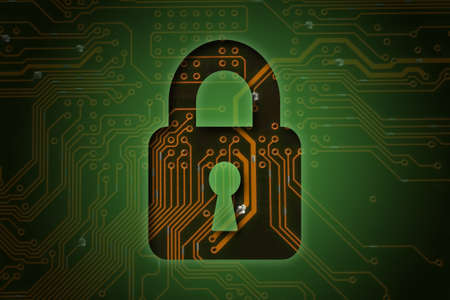 closed circuit: Closed lock on circuit background, security concept