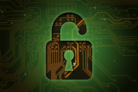 closed circuit: Open lock on circuit background, security concept  Stock Photo