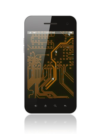 closed circuit: Smart phone with circuit background on white Stock Photo