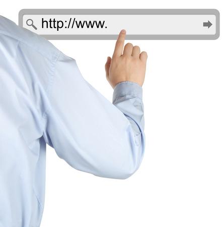 url virtual: Businessman pushing virtual search bar on white background, internet concept