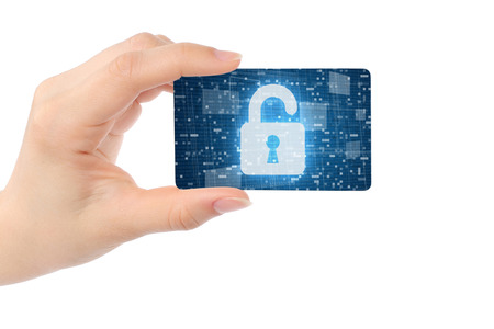 Hand with digital card and open lock on white background  Stock Photo