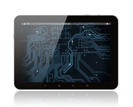 Tablet PC with circuit board on white background  Stock Photo