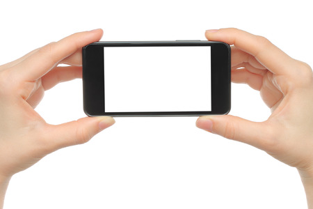 Hands holding smart phone isolated on white  photo