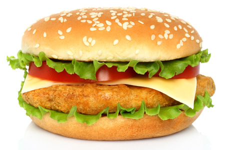 cutlets: Big chicken hamburger on white