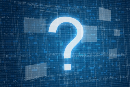 asking questions: Question mark on digital
