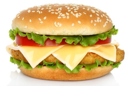 Big chicken hamburger on white background   photo