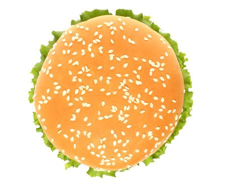 Top of big hamburger on white background   Stock Photo