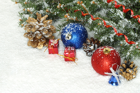 Christmas composition with decorations and snow  photo