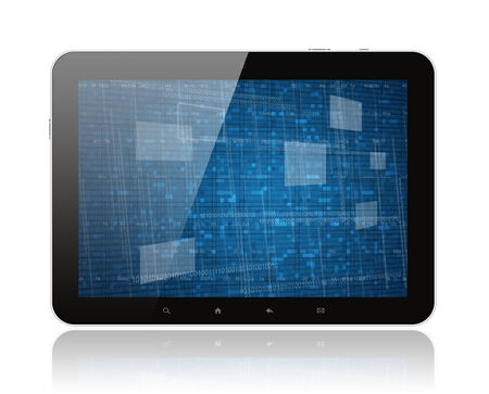 Tablet PC with digital background on white   photo