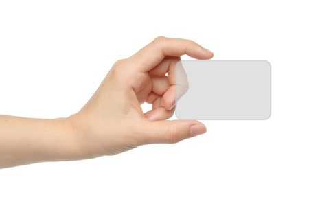 index card: Hand holds virtual card on white background