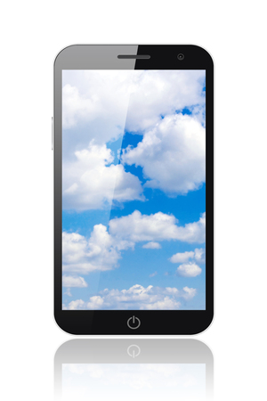 smart  phone: Smart phone with blue sky on white background