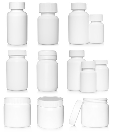pharmaceutical bottle: White medical containers set on white background