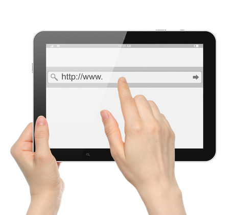 search bar: Hand pushing virtual search bar on tablet PC  Stock Photo