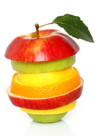 Mixed fruit on a white background   photo