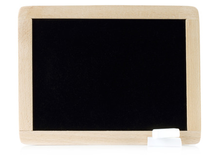 white chalks: Blank blackboard with white chalks on white background