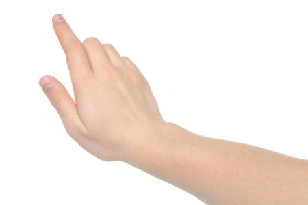 back up: Man hand on white background   Stock Photo