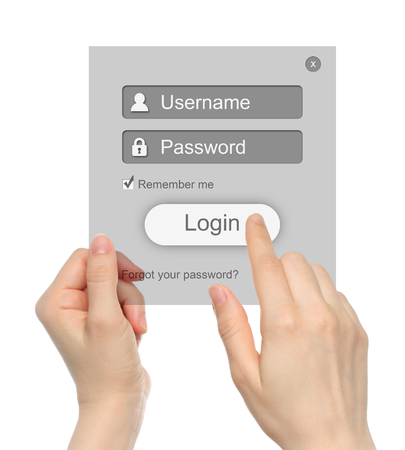 Women hands hold and touch login box on white background photo