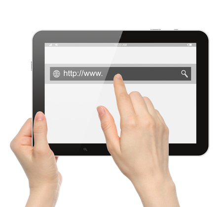 searchbar: Hand pushing virtual search bar on tablet PC on white background