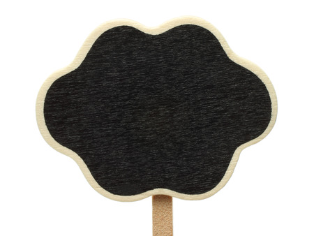 Blank cloud shape blackboard on white background   photo