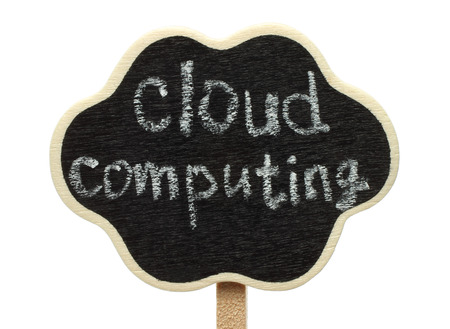 Blank cloud shape blackboard with cloud computing words on white background  photo