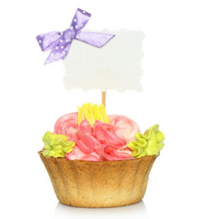 cake pick: Cupcake with blank card on white background