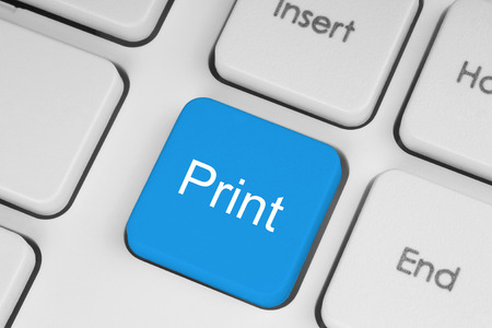 Blue print button on white keyboard background photo