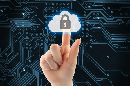 Hand pushing virtual cloud security button on digital background  photo