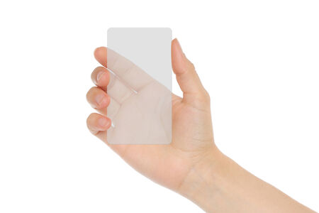 index card: Hand holds transparent card on white background   Stock Photo