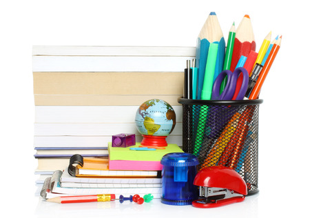 School stationery on white background   photo