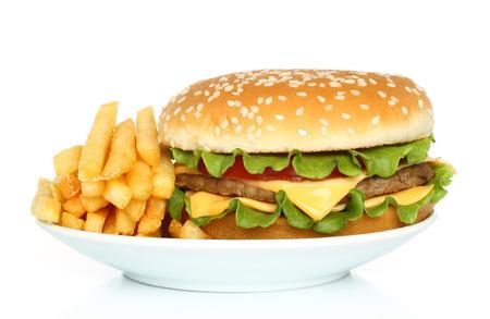 free plate: Hamburger and potato free on white plate on white background