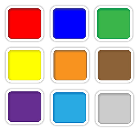 rim: Color web buttons with white rim on white background
