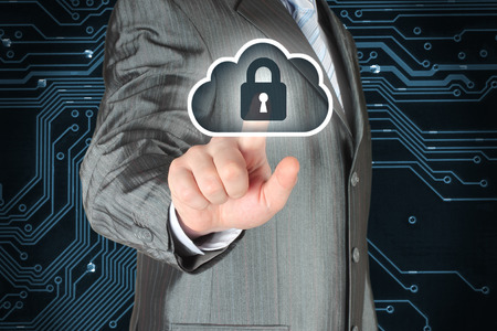 protected: Businessman pushing virtual cloud security button on digital background